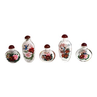 Reverse Painted Snuff Bottle Flowers and Birds - Set of 5 For Sale