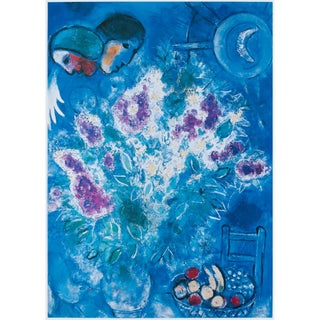 """1993 Marc Chagall """"Still Life With Flowers"""", First Edition Poster For Sale"""