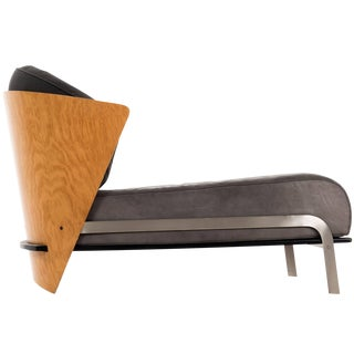 Italian Bentwood and Leather Chaise by Franco Raggi For Sale