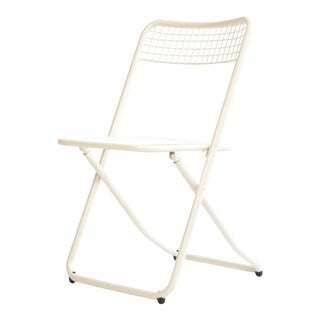 New Cream White Metal Folding Chair For Sale