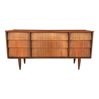 Mid-Century Modern Louvered Style Front Nine Drawer Dresser For Sale