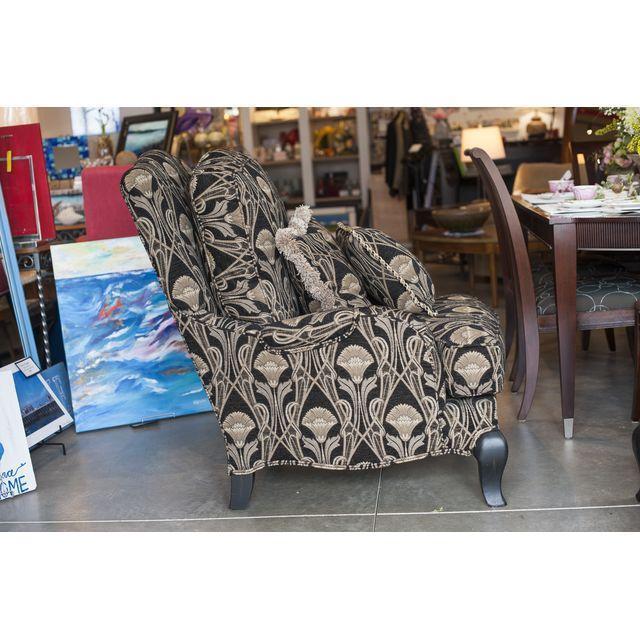 Custom Pearson Black Cream Floral Chair & Ottoman - Image 2 of 7