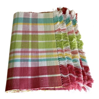 Pink Citrus Plaid Cotton Placemats - Set of 10