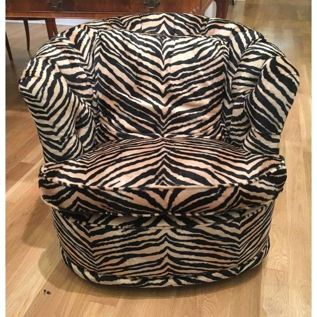 Tufted Zebra Swivel Club Chairs - Pair - Image 5 of 9