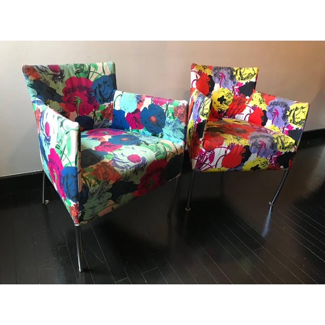 A pair of chairs from the Versace showroom in New York City, late 1990s. Upholstered in their signature Pop Art textile.