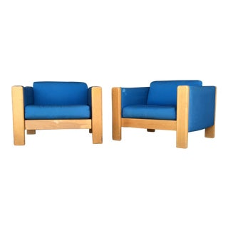 1960s Mid-Century Modern Knoll Blue Cube Chairs - a Pair