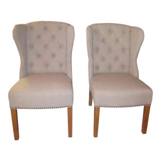 "Arhaus ""Greyson"" Tufted Upholstered Dining Side Chairs - a Pair For Sale"
