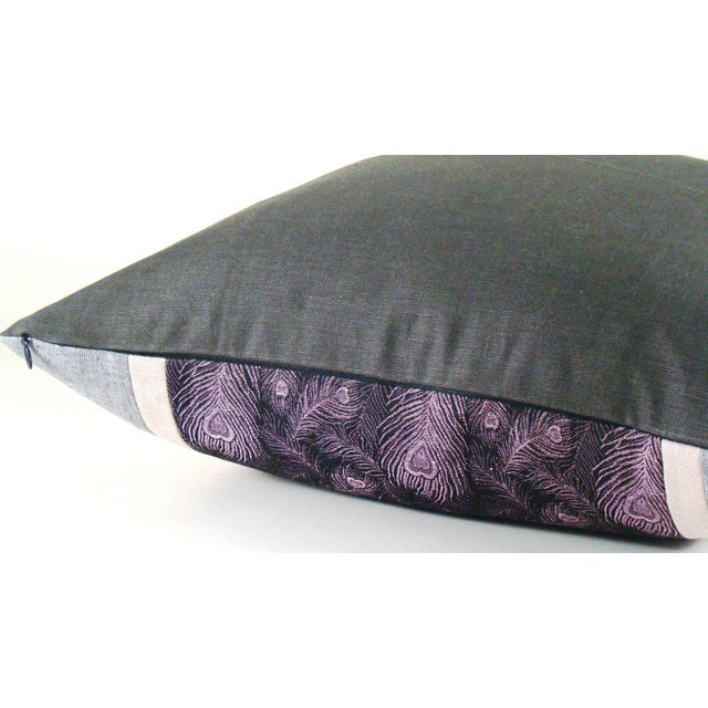 Asian Vintage Japanese Peacock Feather Silk Kimono Pillow Cover For Sale - Image 3 of 6