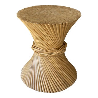 Mid-Century Modern Henry Link Split Rattan Sheaf of Wheat Table Base For Sale
