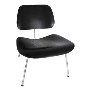 1st Production Evans Charles & Ray Eames Black Aniline Lounge Chair For Sale