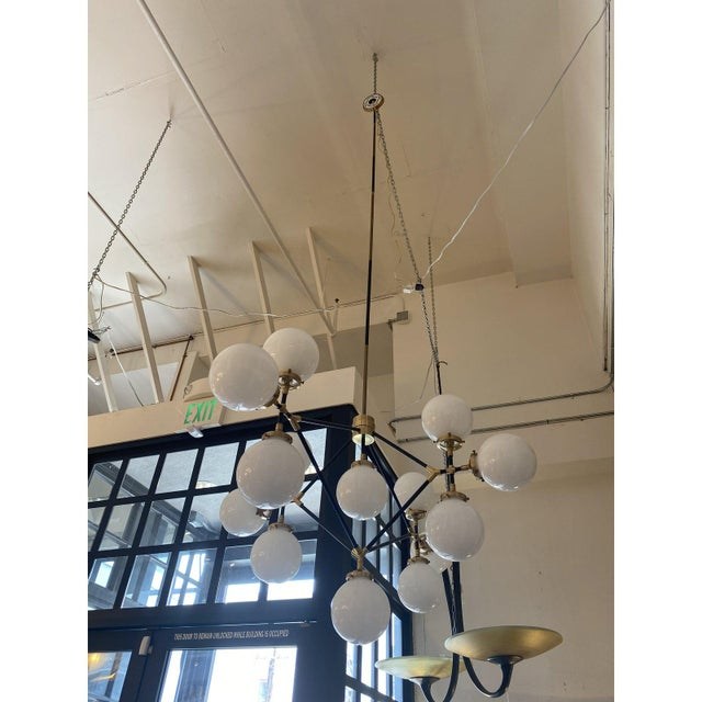 Metal Visual Comfort Ian K. Fowler Bistro Four Arm Chandelier For Sale - Image 7 of 11
