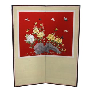 Asian Nature Motif 2 Panel Hand Embroidered Screen For Sale