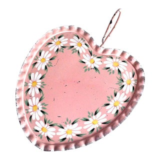 Vintage Shabby Chic Pink Heart Tole Tray For Sale