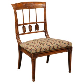 French Carved Back Slipper Chair and Needlepoint Seat from Early 20th Century