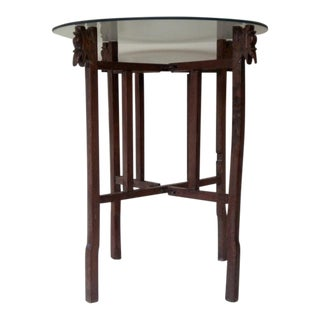 20th Century Folk Art Folding Wood and Glass End Table For Sale
