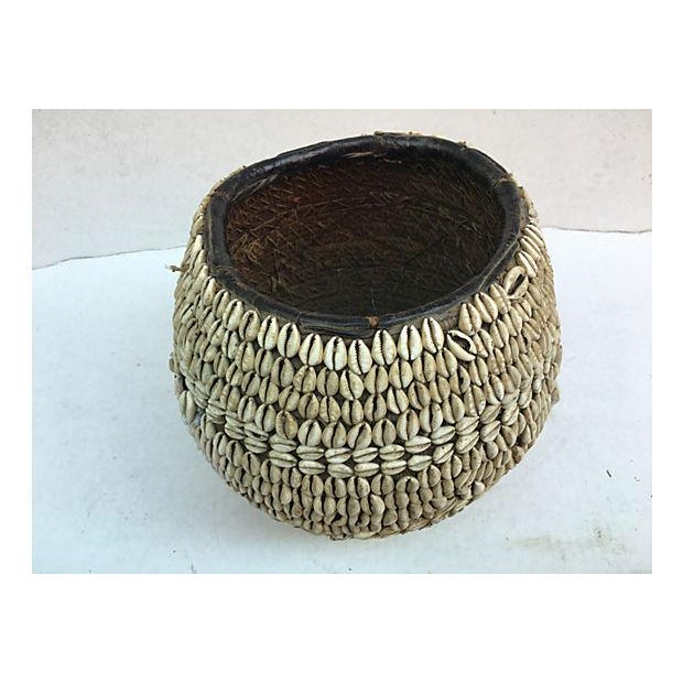 Tribal Nigerian Tribal Cowry Shell Basket For Sale - Image 3 of 5