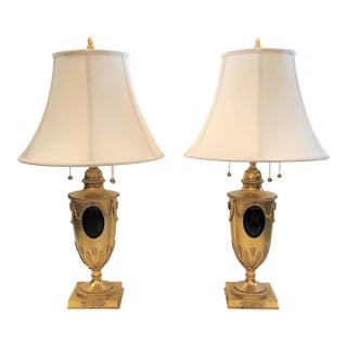 Pair Antique French Bronze D'ore Classical Urn Lamps, Circa 1890-1910.