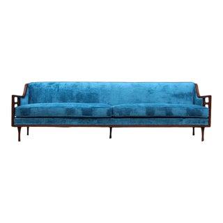 1960s Mid-Century Modern Custom Made Walnut Sofa For Sale