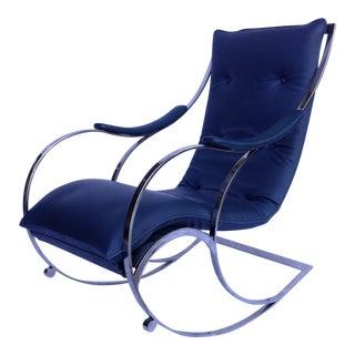 Vintage C.1960's Mid-Century Milo Baughman Chrome Rocking Chair For Sale