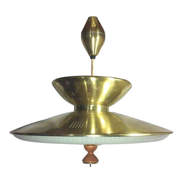 Gerald Thurston Retractable Brass Chandelier For Sale