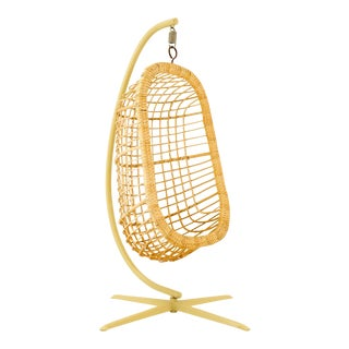 Vintage Mid Century Modern Rattan Hanging Pod Egg Swing Chair