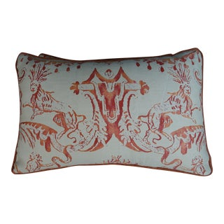 Pair of Fortuny Manzianno Patterned Kidney Size Pillows For Sale