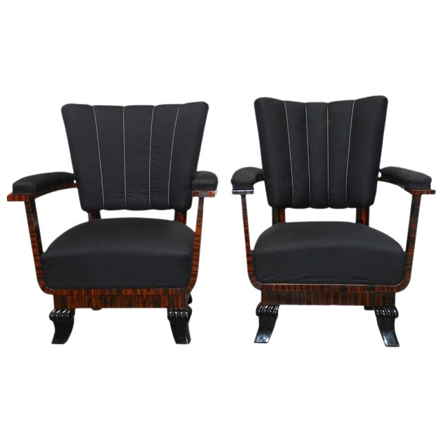 French Art Deco Macassar Club Chairs - A Pair For Sale