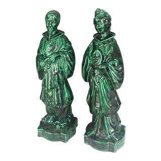 Chinese Mid Century Ceramic Man and Women Statues - a Pair