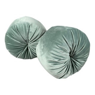 French Round Pleated Velvet Turquoise/Light Blue Pillows - a Pair For Sale