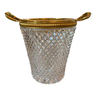 French Cut Glass and Metal Cachepot For Sale