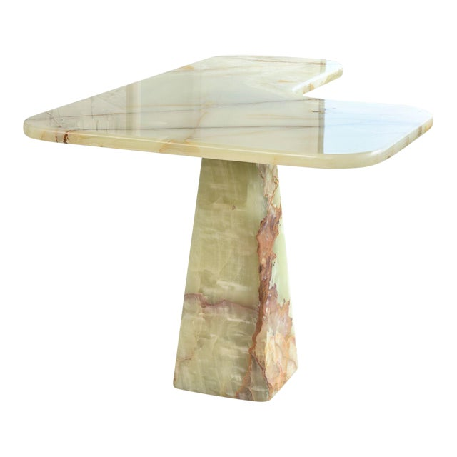 Rare Italian Modern Onyx Center Table/Pair of Corner Consoles, Borsani For Sale