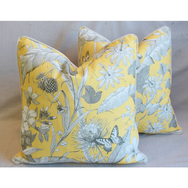 "Designer English Floral & Nature Linen/Velvet Feather & Down Pillows 24"" Square - Pair For Sale - Image 13 of 13"