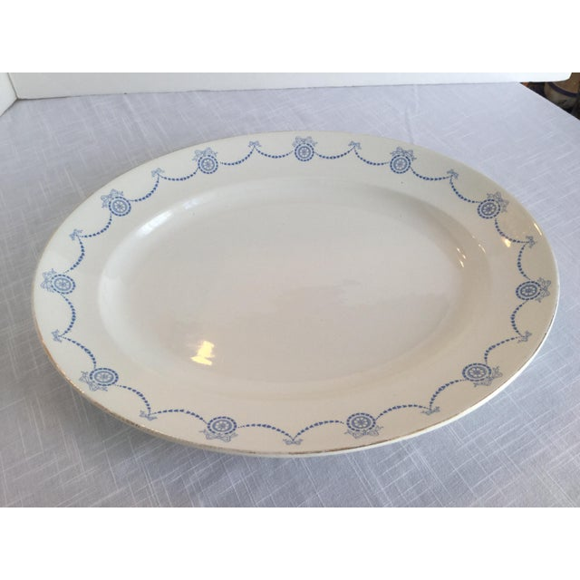 Blue & White Oval Imperial Porcelain Platter For Sale - Image 9 of 13