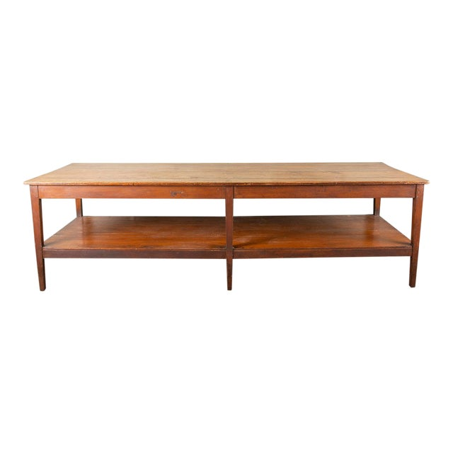 19th Century French Pine Drapers Table With Original Finish For Sale