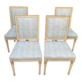 Image of Hollywood Regency Dining Chairs With Blue Upholstery - Set of 4 For Sale