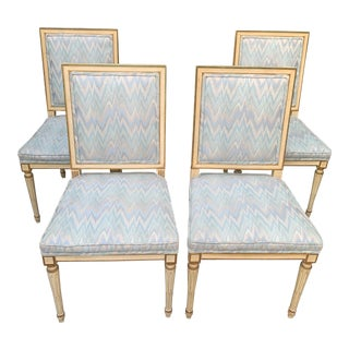 Hollywood Regency Dining Chairs With Blue Upholstery - Set of 4 For Sale