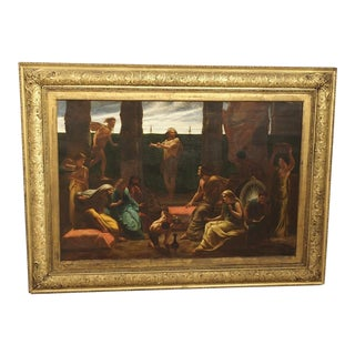 """Antique 19th Century English """"Biblical Scene"""" Oil Painting in J & W Vokins Giltwood Frame For Sale"""