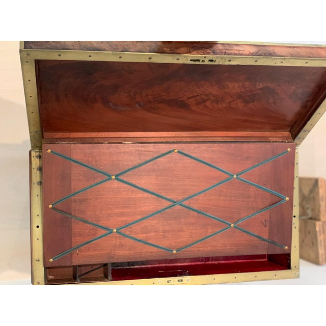 Brown Antique Wooden Box on Custom-Made Stand For Sale - Image 8 of 13