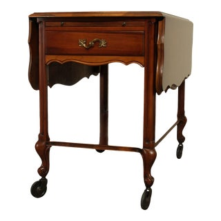 French Louis XV Style Vintage Cherry Wood Drop Leaf Bar Cart, Server Trolly For Sale
