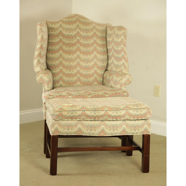 Chippendale Carr & Company Chippendale Style Mahogany Wing Chair with Ottoman For Sale - Image 3 of 12