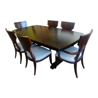 Thomasville Furniture Spellbound Sable Mahogany Double Pedestal Dining Furniture-Set of 7 For Sale