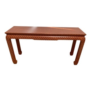 1970s Asian Style Baker Lacquered Grasscloth Console Table For Sale