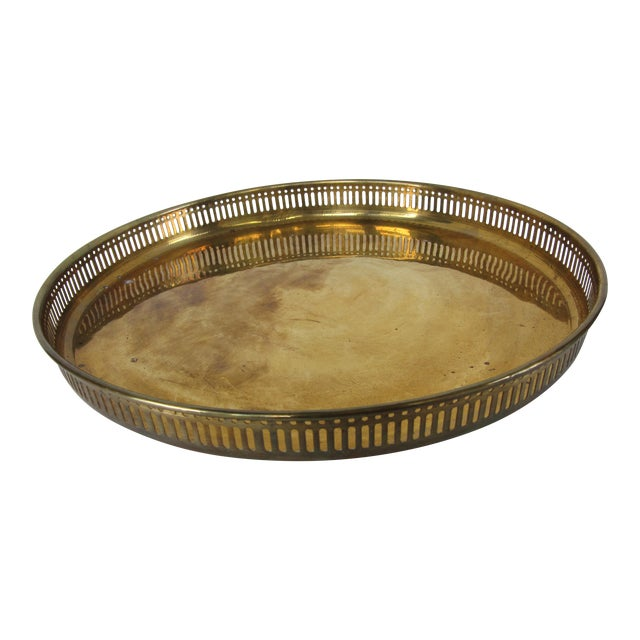 Large Round Vintage Brass Tray For Sale