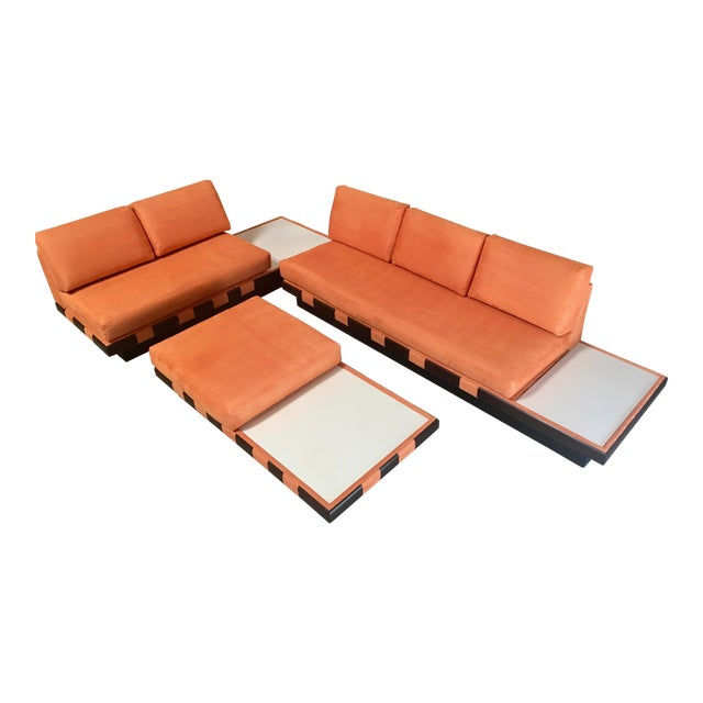 20th Century Adrian Persall Style Sofa Sectional and Coffee Table - 3 Pieces For Sale