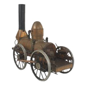 American Country style (20th Cent) copper train model of Dewitt Clinton train steam engine (Stephenson's Rocket) on tracks (see #049802 for train coac For Sale