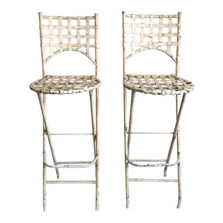 1930s French Outdoor Iron Folding Stools - a Pair For Sale