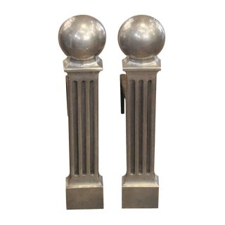 Art Deco Aluminum Andirons - a Pair For Sale
