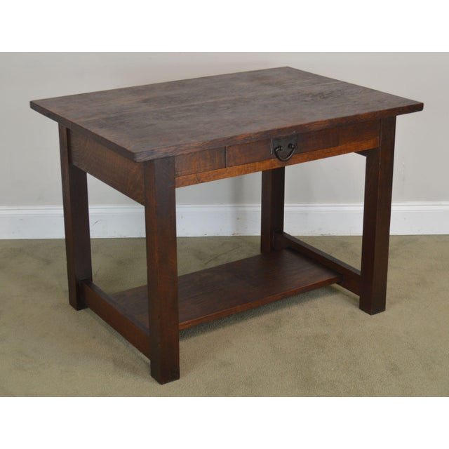 High Quality Antique Oak Writing Table with Dovetailed Drawer and Hammered Copper Hardware Possibly Gustav Stickley Not...