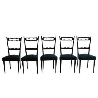 20th Century Paolo Buffa Italian Polished Walnut Chairs - Set of 5 For Sale