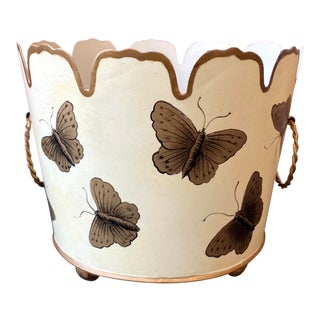 Butterfly Tole Cachepot / Planter For Sale
